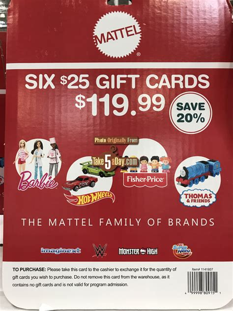 Buy Disney Gift Cards At Costco - shop mattel costco gift card 20 off stack them quot coupon quot take five a day