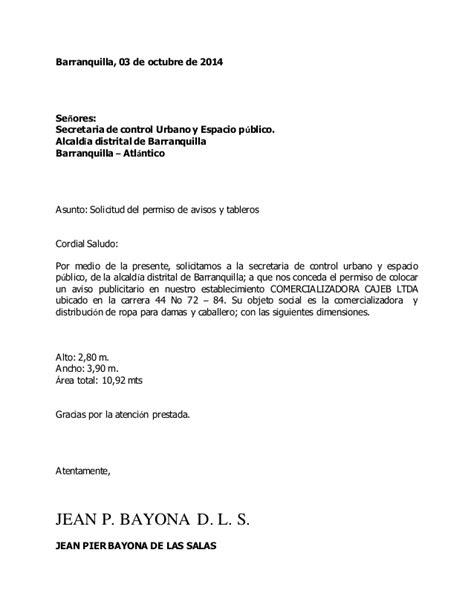 ejemplo carta solicitud de licencia carta de solicitud de permiso de avisos y tableros 1
