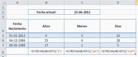 excel como calcular la edad  anos meses  dias