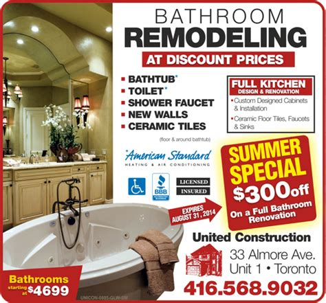 Ideas For Bathrooms Remodelling contact united construction services toronto bathroom