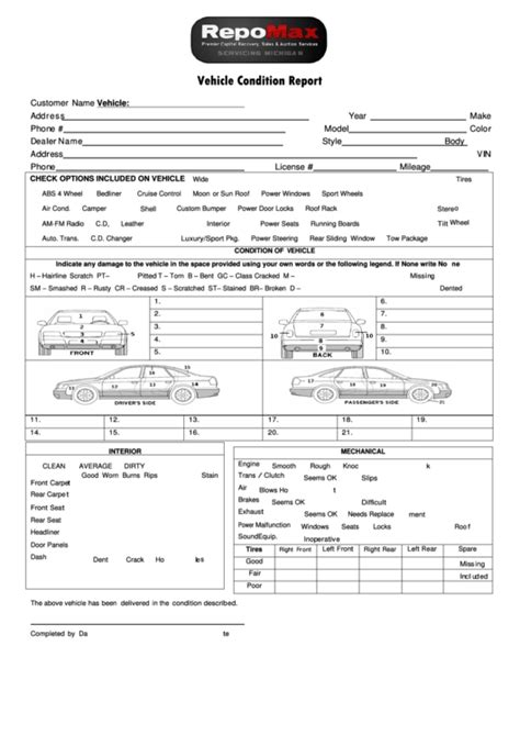 truck condition report template vehicle condition report template vehicle ideas