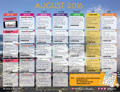 Blogilates Calendar August 2016 Workout Calendar