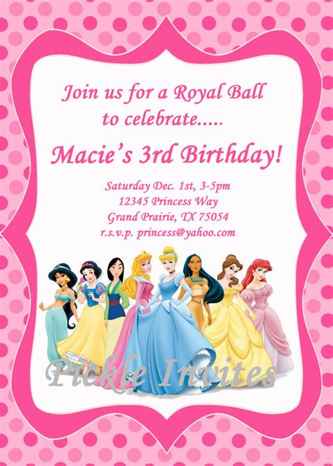 free princess invitation templates items similar to cinderella princess invitation and thank