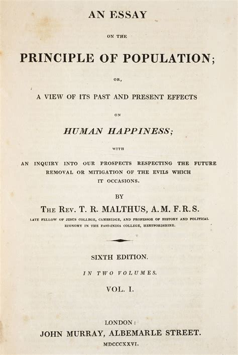 Essay On Population by Essays On The Principle Of Population Malthus Malthus An Essay On The Principle Of Population