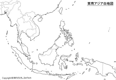 Asia Rivers Outline Map by 東南アジア地図 旅行のとも Zentech