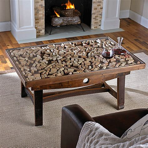 Collector's Display Top Coffee Table with Barrel Stave Legs   Wine Enthusiast