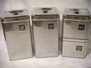 Metal Kitchen Canister Sets Vintage Retro Chrome Metal Amp Black Canister Set 4 Ebay