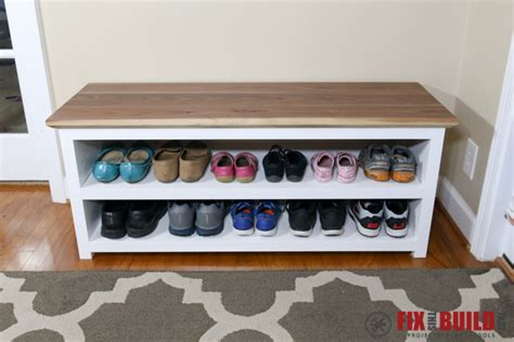 diy shoe rack bench white entryway shoe bench diy projects