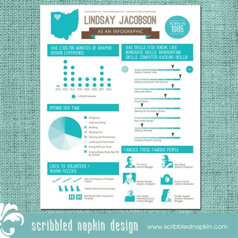 Resume Graphic Design Infographic Personalized Infographic Resume Design Custom By Scribblednapkin