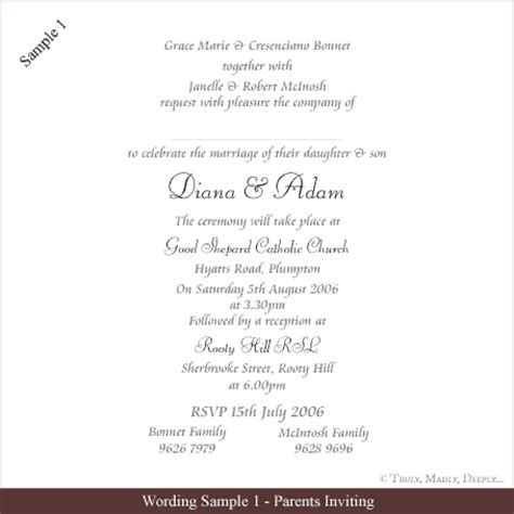 free wedding invitation wording sles truly madly deeply pty ltd