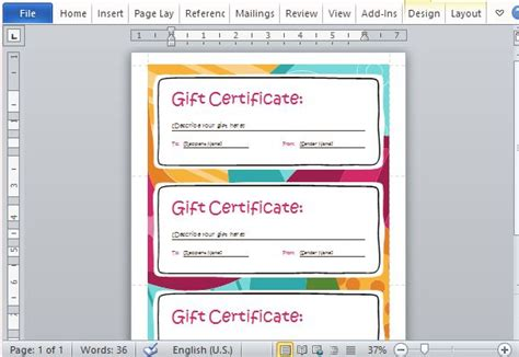 powerpoint gift certificate template gift certificate maker template for word 2013 powerpoint