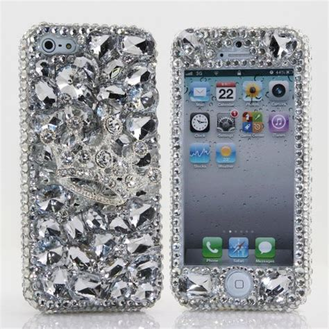 Luxury Bling Rhinestone Silver For Iphone 5 5s 2 luxury bling iphone 5 5s cover faceplate 3d swarovski silver crown design