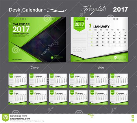 set green desk calendar 2017 template design cover desk