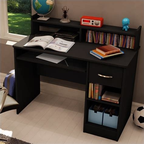South Shore Axess Small Wood Computer Desk With Hutch In Desk For Bedroom