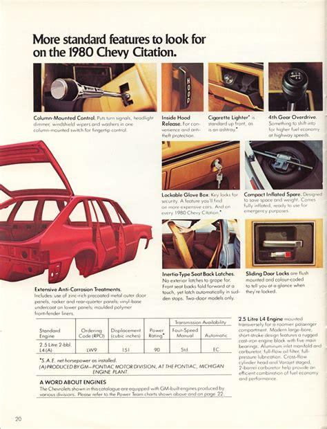 old car repair manuals 1980 chevrolet citation transmission control car brochures 1980 citation brochure