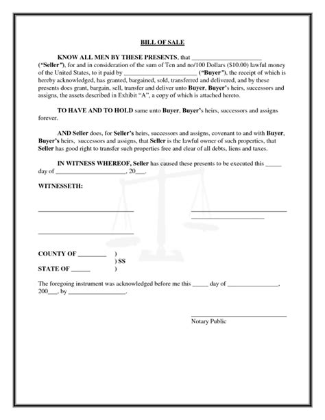 general bill of sale template general bill of sale template for personal property by