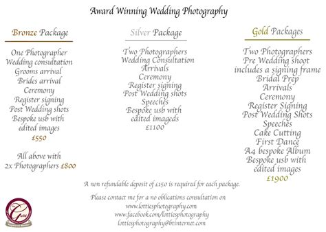 wedding price list wedding price list lottie s photography