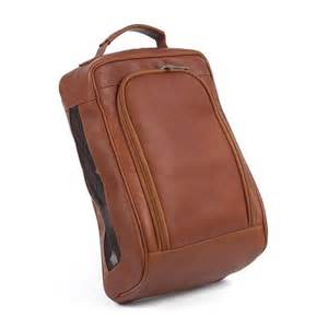 luxury leather golf shoe bag at brookstone buy now