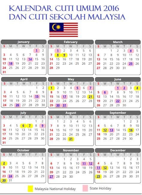 Kalender 2018 Malaysia Cuti Sekolah Pdf Kalendar Cuti Umum 2016 Dan Cuti Sekolah Malaysia