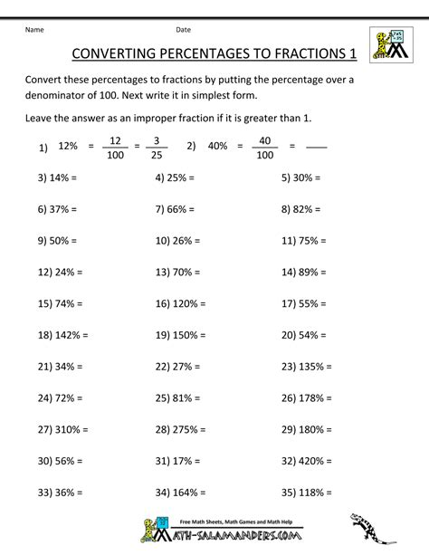 Percentages And Fractions Worksheets by Convert Percent To Fraction