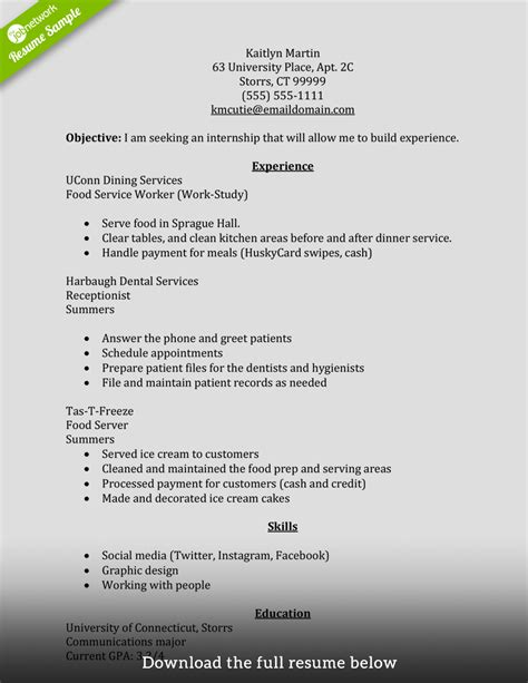 objective for summer internship resume how to write a internship resume exles included