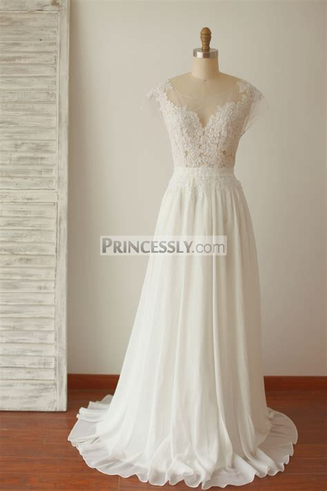 Wedding Dresses Cap Sleeves by A Line Cap Sleeves Sheer Illusion V Back Lace Chiffon