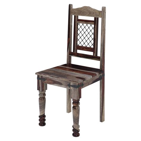 rustic wood ethnic iron jaali work dining chair