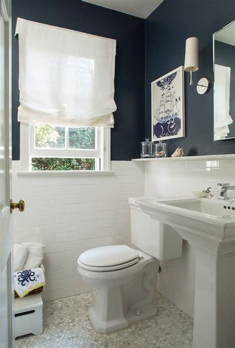 navy bathroom tiles navy bathroom walls with white subway tiles cottage bathroom