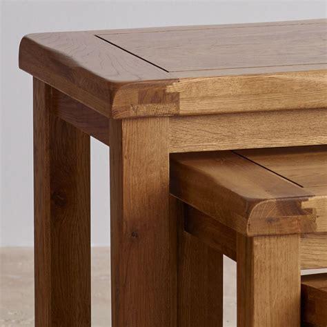 oak nest of tables original nest of 3 tables in rustic oak oak furniture land