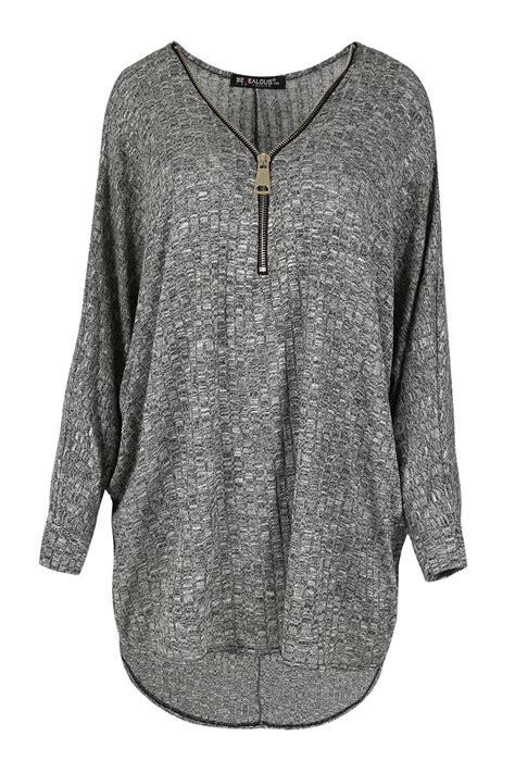 Aeb Knit Longsleeve Top rib knit sleeve jumper womens zip baggy