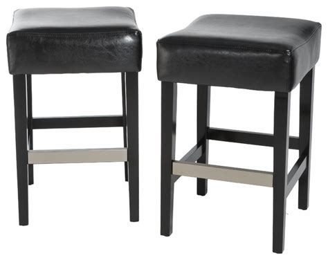 black leather bar stools counter height barto leather backless stools set of 2 black bar height