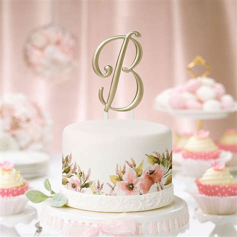 Monogram Wedding Cake Toppers by 5 Inch Gold Single Initial Monogram Wedding Cake Topper