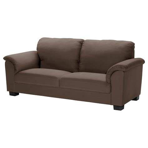 sofa s tidafors three seat sofa dansbo medium brown ikea
