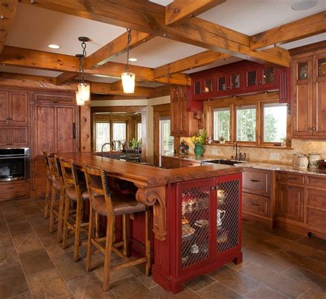 Rustic Log Kitchen Cabinets Rustic Log Home Rustic Kitchen Other By Mullet Cabinet