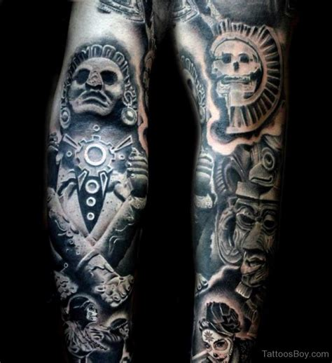 aztec tattoo sleeve god tattoos designs pictures
