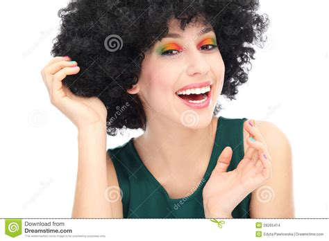 woman wearing black afro wig stock images image 28265414