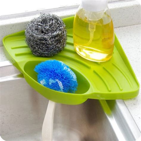 Kitchen Sink Sponge Holder kitchen sink corner storage rack sponge holder tray green