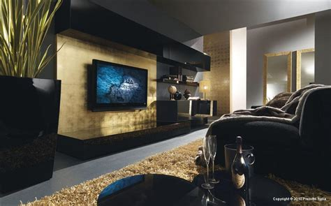 Black And Gold Room Decor Promote Contemporary Living Room Design Ideas