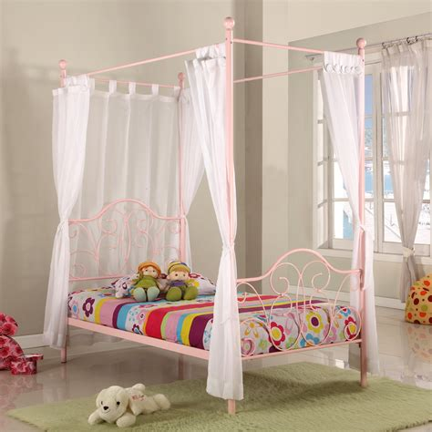 metal twin pink canopy bed with curtains at hayneedle