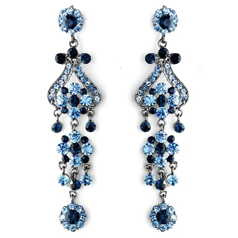Bold 4 Quot Navy And Light Blue Crystal Quinceanera Sweet 16 Navy Blue Chandelier Earrings
