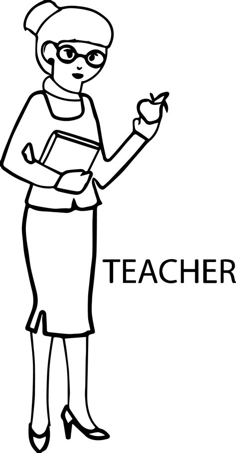 helpful image series of teacher coloring page suitable for