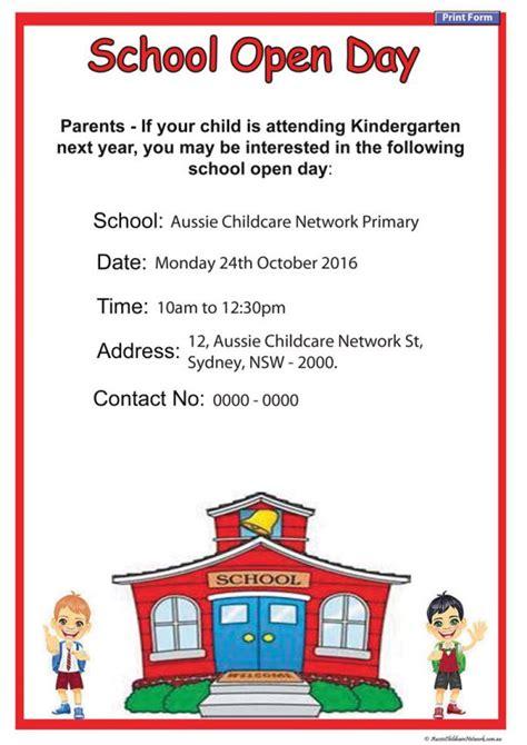 open day school poster aussie childcare network