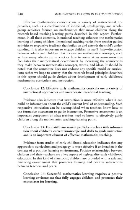 concluding section of a book 9 conclusions and recommendations mathematics learning