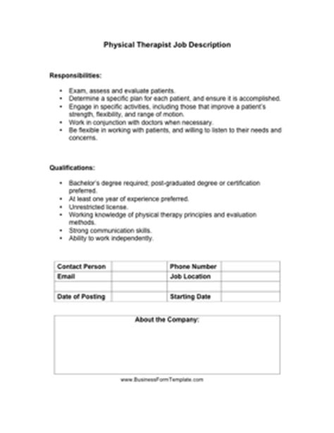 Physical Therapist Job Description Template Physical Form For Work Template