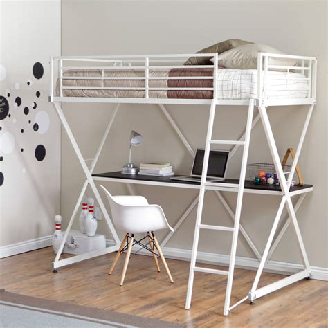 Bunk Bed Loft With Desk Duro Z Bunk Bed Loft With Desk White Bunk Beds Loft Beds At Hayneedle