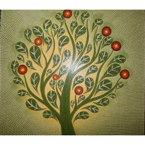 Hiasan Dinding Gambar Lukisan Abstrak Fafa180 lukisan abstrak teknik dot motif pohon hijau elevenia