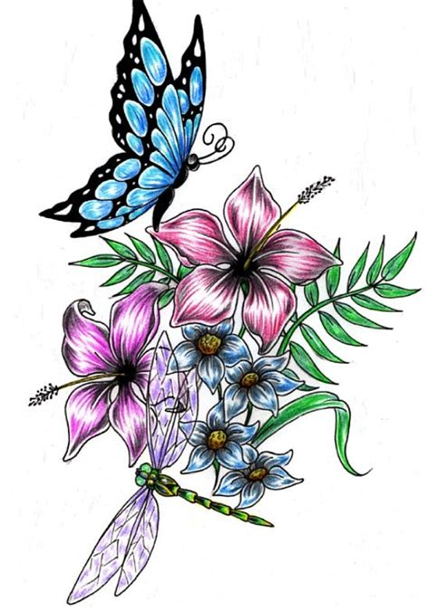 dragonfly and flower tattoo designs flower drawings and designs dragonfly buterfly flower