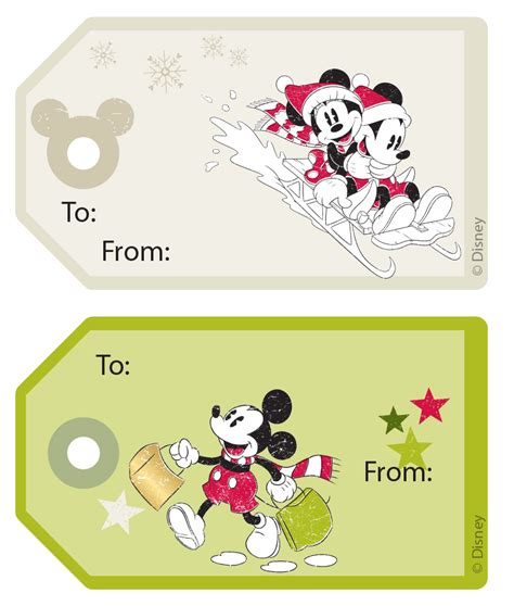 mickey friends christmas gift tag stickers disney family