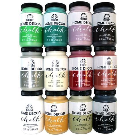 folkart home decor 8 oz 12 color ultra matte chalk finish paint set promo845 the home depot