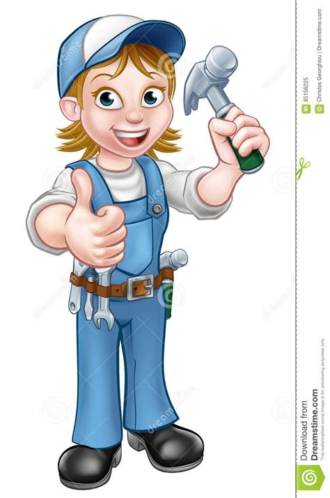 Clipart Vector Of The Carpenter Cartoon Illustration Of cartoon woman carpenter holding hammer stock vector
